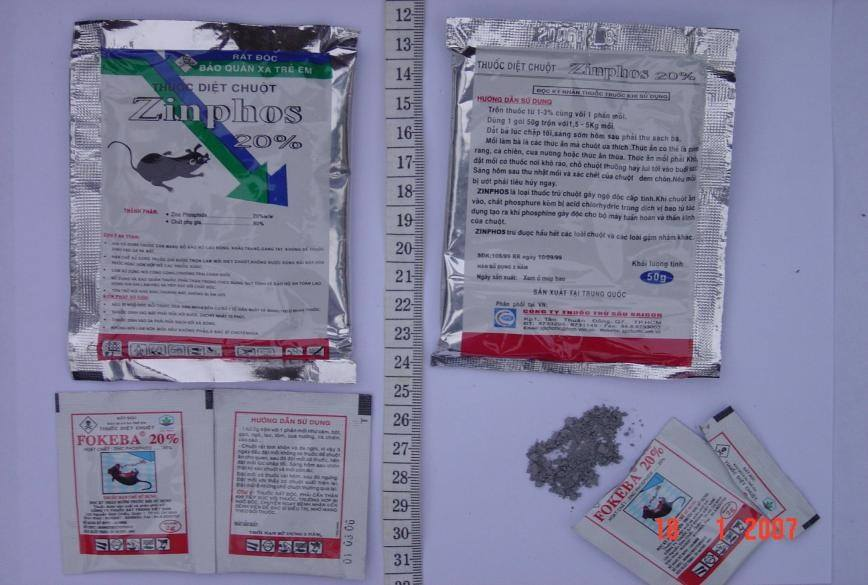 Một số sản phẩm hóa chất diệt chuột phosphua kẽm