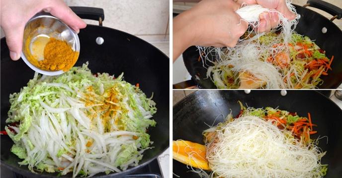 Cách làm bún khô xào tôm thịt