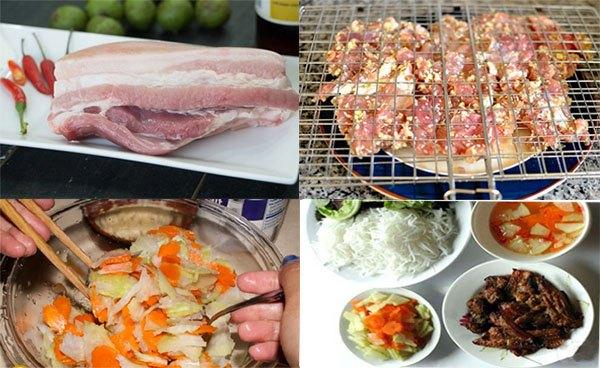 Cách làm bún chả thịt nướng