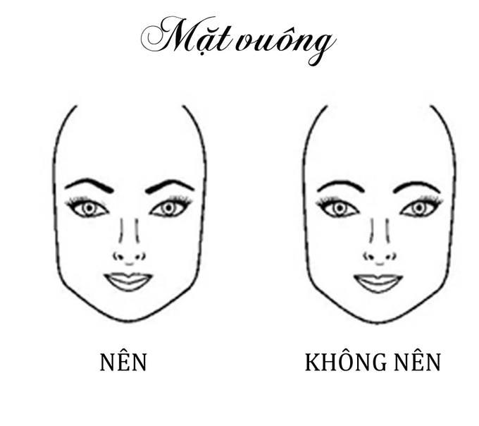 Với khuôn mặt hình vuông, hãy vẽ lông mày hình dấu mũ để dung nhan trông mềm mại hơn.